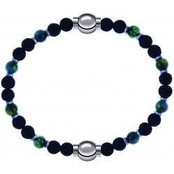 Apollon - Collection MiX-bracelet agate teintée verte-pierre de lave 6mm-10,75cm+agate teintée verte-pierre de lave 6mm-10,75cm
