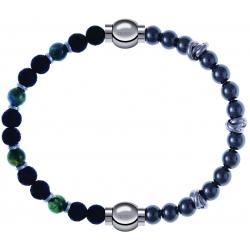 Apollon - Collection MiX - bracelet combinable agate teintée verte - pierre de lave 6mm - 10,75cm + hématite 6mm - 10cm