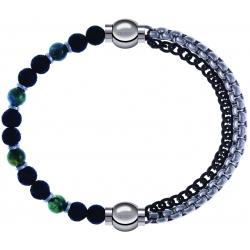 Apollon - Collection MiX - bracelet agate teintée verte - pierre de lave 6mm - 10,75cm + chaines 2 tons noir et blancs - 10,25cm