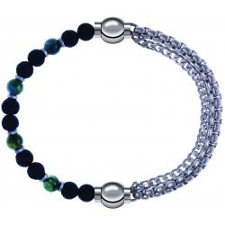 Apollon - Collection MiX - bracelet combinable agate teintée verte - pierre de lave 6mm - 10,75cm + chaines - 10,25cm