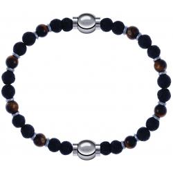 Apollon - Collection MiX - bracelet oeil de tigre - pierre de lave 6mm - 10,75cm + oeil de tigre - pierre de lave 6mm - 10,75cm