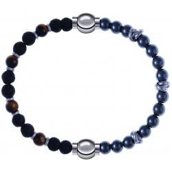Apollon - Collection MiX - bracelet combinable oeil de tigre - pierre de lave 6mm - 10,75cm + hématite 6mm - 10cm
