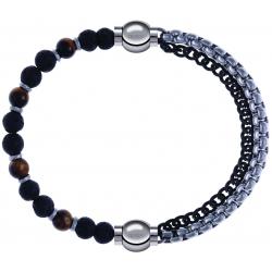 Apollon - Collection MiX - bracelet - oeil de tigre - pierre de lave 6mm - 10,75cm + chaines 2 tons noir et blancs - 10,25cm