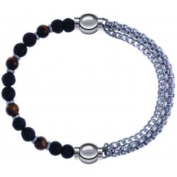 Apollon - Collection MiX - bracelet combinable oeil de tigre - pierre de lave 6mm - 10,75cm + chaines - 10,25cm