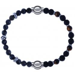 Apollon - Collection MiX - bracelet combinable labradorite 6mm - 10cm + oeil de tigre - pierre de lave 6mm - 10,75cm