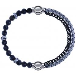 Apollon - Collection MiX - bracelet combinable labradorite 6mm - 10cm + chaines 2 tons noir et blancs - 10,25cm