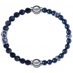 Apollon - Collection MiX - bracelet combinable sodalite 6mm - 10cm + hématite 6mm - 10cm