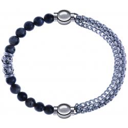 Apollon - Collection MiX - bracelet combinable sodalite 6mm - 10cm + chaines - 10,25cm