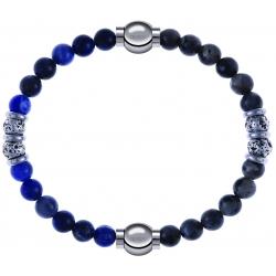 Apollon - Collection MiX - bracelet combinable labradorite 6mm - 10cm + sodalite 6mm - 10cm