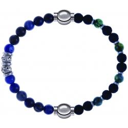 Apollon - Collection MiX - bracelet combinable labradorite 6mm - 10cm + agate teintée verte - pierre de lave 6mm - 10,75cm