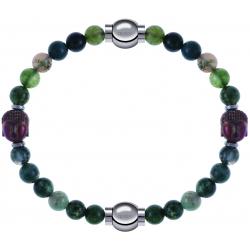 Apollon - Collection MiX - bracelet combinable agate verte 6mm - Bouddha - 10cm + agate verte 6mm - Bouddha - 10cm
