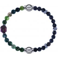 Apollon - Collection MiX - bracelet combinable agate verte 6mm - Bouddha - 10cm + labradorite 6mm - 10cm