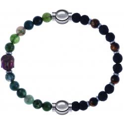 Apollon - Collection MiX - bracelet combinable agate verte 6mm - Bouddha - 10cm + oeil de tigre - pierre de lave 6mm - 10,75cm