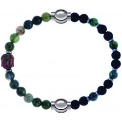 Apollon - Collection MiX - bracelet combinable agate verte 6mm - Bouddha-10cm + agate teintée verte-pierre de lave 6mm-10,75cm