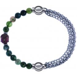 Apollon - Collection MiX - bracelet combinable agate verte 6mm - Bouddha - 10cm + chaines - 10,25cm