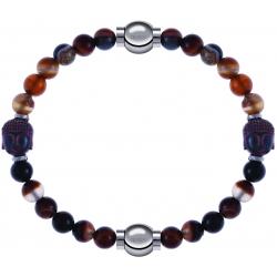 Apollon - Collection MiX - bracelet combinable agate marron 6mm - Bouddha - 10cm + agate marron 6mm - Bouddha - 10cm