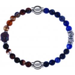 Apollon - Collection MiX - bracelet combinable agate marron 6mm - Bouddha - 10cm + labradorite 6mm - 10cm