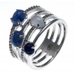 Bague argent rhodié 5g - calcédoine - quartz bleu - sodalite - zircons - T50 à 60