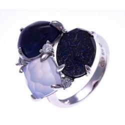 Bague argent rhodié 5,1g - sodalite - verre aventuriné - quartz fondu - calcédoine - zircons - T52 à T60