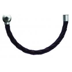 Bracelet combinable - Moitié - cuir tressé italien marron - diamètre 5mm - longueur 10,5cm