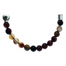 Bracelet combinable - Moitié - agate marron 6mm - longueur 10,25cm
