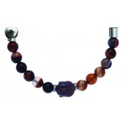 Bracelet combinable - Moitié - agate marron 6mm - composants acier boudha - longueur 10cm