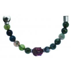 Bracelet combinable - Moitié - agate verte 6mm - composants acier boudha - longueur 10cm