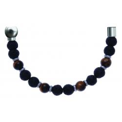 Bracelet combinable - Moitié - œil de tigre - pierre de lave 6mm - composants acier - longueur 10,75cm