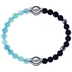 Apollon - Collection MiX Femme - jade bleue - diamètre 6mm - longueur 9,25cm + onyx - composants acier - longueur 9,25cm…