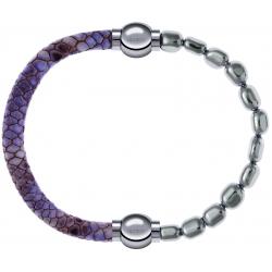 Apollon - Collection MiX Femme - cuir italien impression peau de serpent violet - diamètre 5mm - longueur 9,25cm + hémat…