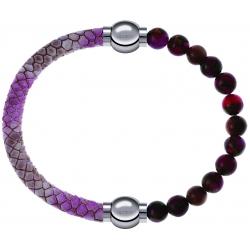 Apollon - Collection MiX Femme - cuir italien impression peau de serpent rose - diamètre 5mm - longueur 9,25cm + agate r…