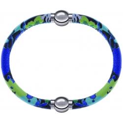 Apollon - Collection MiX Femme - cuir italien impression fleurs multicolores dominante bleue  - diamètre 5mm - longueur …