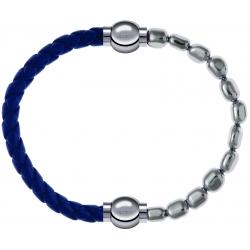 Apollon - Collection MiX Femme - cuir tressé italien bleu foncé - diamètre 5mm - longueur 9,25cm + hématite - diamètre 6…