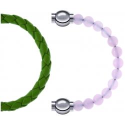 Apollon - Collection MiX Femme - cuir tressé italien vert clair - diamètre 5mm - longueur 9,25cm + quartz rose - diamètr…