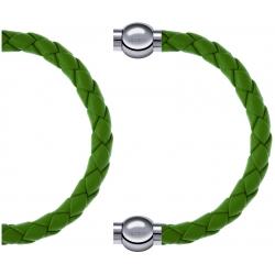 Apollon - Collection MiX Femme - cuir tressé italien vert clair - diamètre 5mm - longueur 9,25cm + cuir tressé italien v…