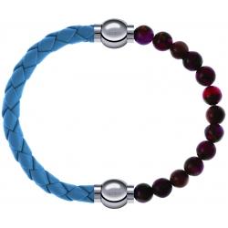 Apollon - Collection MiX Femme - cuir tressé italien bleu clair - diamètre 5mm - longueur 9,25cm + agate rouge, bronzite…