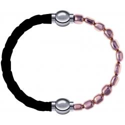 Apollon - Collection MiX Femme - cuir tressé italien noir - diamètre 5mm - longueur 9,25cm + hématite rosé - diamètre 6m…