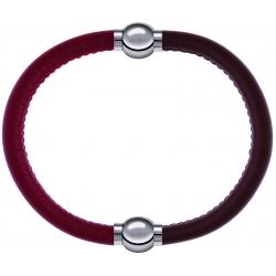 Apollon - Collection MiX Femme - cuir italien rouge - diamètre 5mm - longueur 9,25cm + cuir italien marron - diamètre 5m…