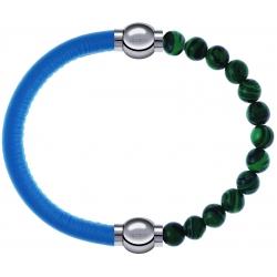 Apollon - Collection MiX Femme - cuir italien turquoise - diamètre 5mm - longueur 9,25cm + malachite - diamètre 6mm - lo…