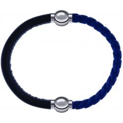 Apollon - Collection MiX Femme - cuir italien noir - diamètre 5mm - longueur 9,25cm + cuir tressé italien bleu foncé - d…