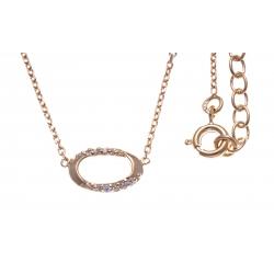Collier plaqué or - ovale - zircons - 38+4cm