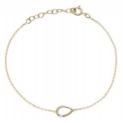 Bracelet plaqué or - goutte - zircon - 17+3cm