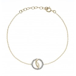 Bracelet plaqué or - zircons - 17+3cm
