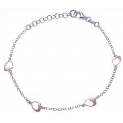 Bracelet argent rhodié 2,2g - 2 tons rhodié et rosé - coeurs - 17+3cm