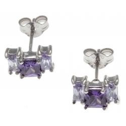 Boucles d'oreille argent rhodié 1,6g - zircons