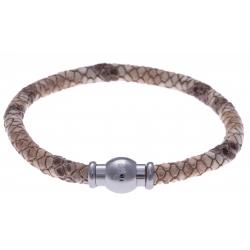 Bracelet acier Apollon - cuir véritable - impression peau de serpent rosé - fermoir Plug&Go - 18,5cm