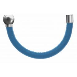 Apollon - Collection MiX - Bracelet acier (moitié) cuir italien turquoise - diamètre 5mm - longueur 9,25cm