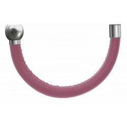 Apollon - Collection MiX - Bracelet acier (moitié) cuir italien rose - diamètre 5mm - longueur 9,25cm
