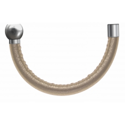 Apollon - Collection MiX - Bracelet acier (moitié) cuir italien doré - diamètre 5mm - longueur 9,25cm