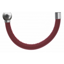 Apollon - Collection MiX - Bracelet acier (moitié) cuir italien rouge - diamètre 5mm - longueur 9,25cm